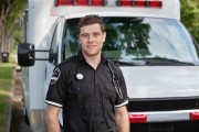 an ambulance and an emt volunteer